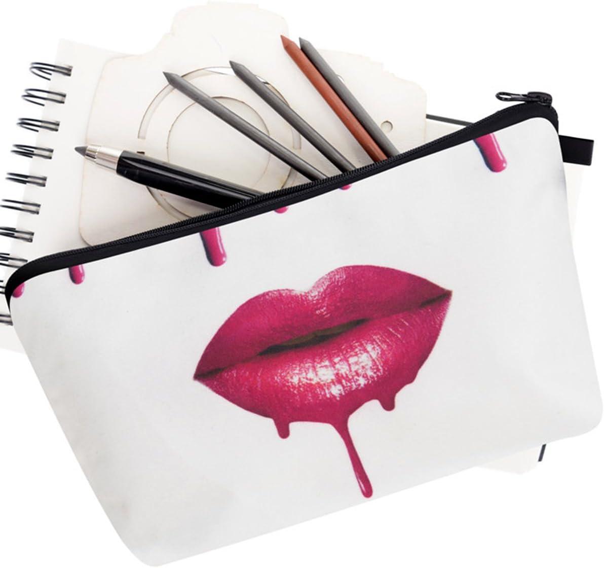PREMYO Neceser de Maquillaje Estuche Escolar Pochette para Cosméticos Bolsa de Aseo Pequeña Práctico Estampado Impresión Diseño Pink Lips: Amazon.es: Belleza