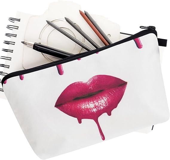 PREMYO Trousse /à Maquillage Femme Design Licorne Imprim/ée Pochette Cosm/étique Vanity Case Souple Petite Sac Toilette Scolaire /à Crayon Stylo Rose