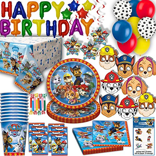 HeroFiber Paw Patrol Party for 16 - Plates, Cups, Napkins, Balloons, Inflatable Happy Birthday Banner, Masks, Loot Bags, Hanging Swirls, Tattoos, Table Cover, Blowouts - Decorations + -