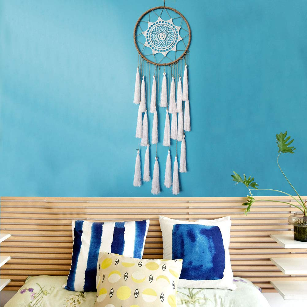 Jatidne White Dream Catchers for Bedroom Wall Decor with Beautiful Tassel Large Dream Catchers for Kids (White)
