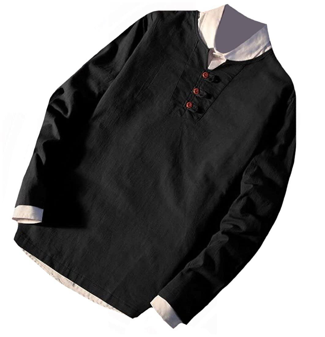 Maisicolis Mens Solid-Colored Casual Linen Long Sleeve Fit Skinny Shirt Top T-Shirt