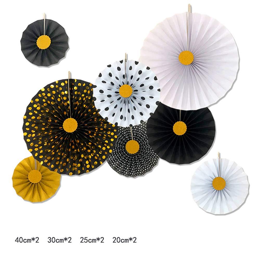 6PCS, Colorful LOLOAJOY 6PCS//Set Home Decoration Hanging Paper Fans Decorative Fans