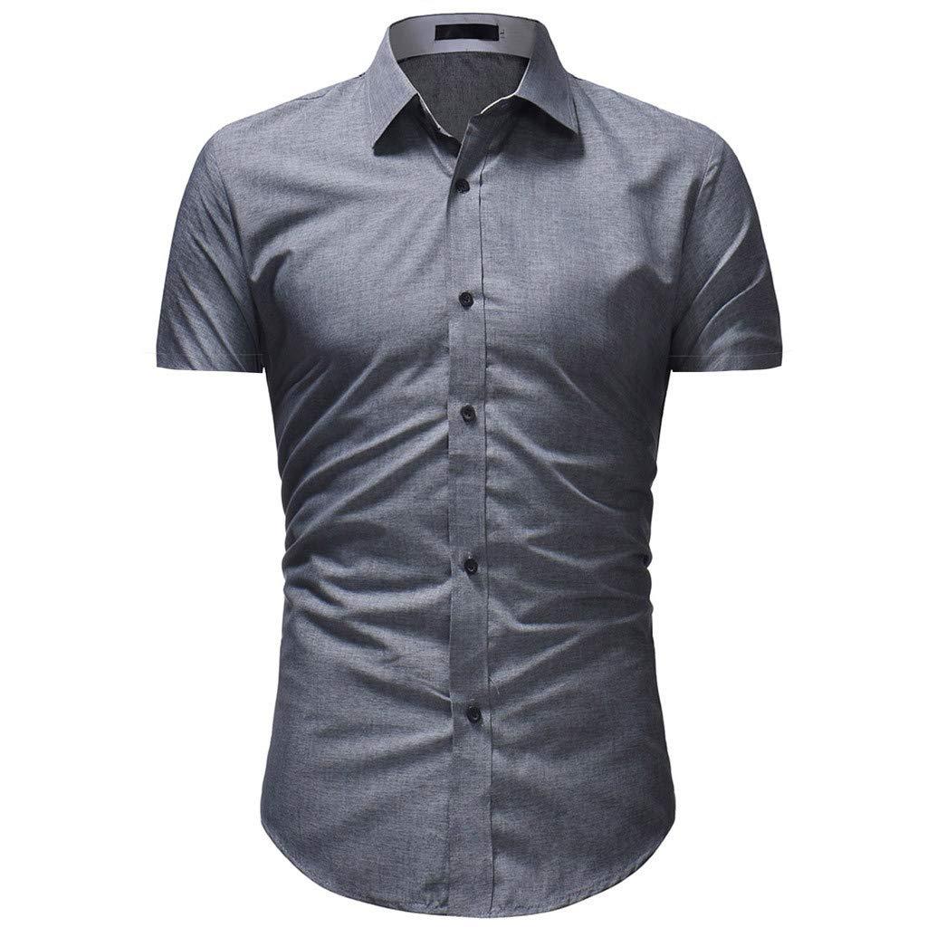 fbe32320663 Amazon.com  Pandaie Mens Blouse Shirts Men s Solid Casual Button Down Short  Sleeve Hawaiian Shirt Top Blouse  Clothing