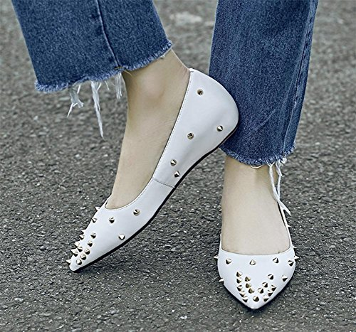 Spring shoes flat shoes rivets shoes and shoes pointed autumn White ladies q7SO7