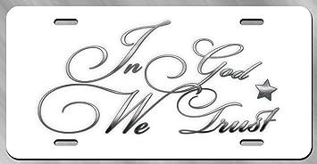 In God We Trust Black USA License Plate Tag Frame American Flag Design