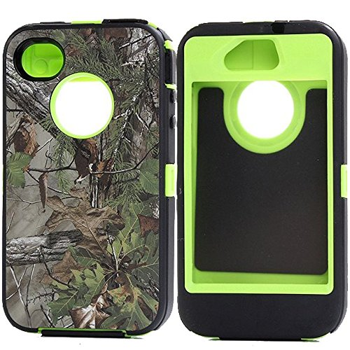 Kecko(TM) Heavy Duty Defender Tough Armor Shockproof Dirtproof Hunting Tree Camo High Impact Hybrid Combo Hard Case Cover Protective Skin W/ Built In Screen Protector for iphone 4/4s--Camo Trees on the Core (Forest Green) (Light Green Iphone 4s Case)