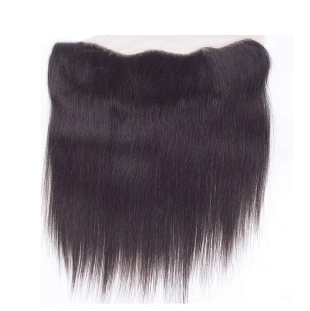 かつら人間かつらストレート織りヘアエクステンションレースフロント閉鎖漂白ノットナチュラル B07MNGY3D6  81012inch