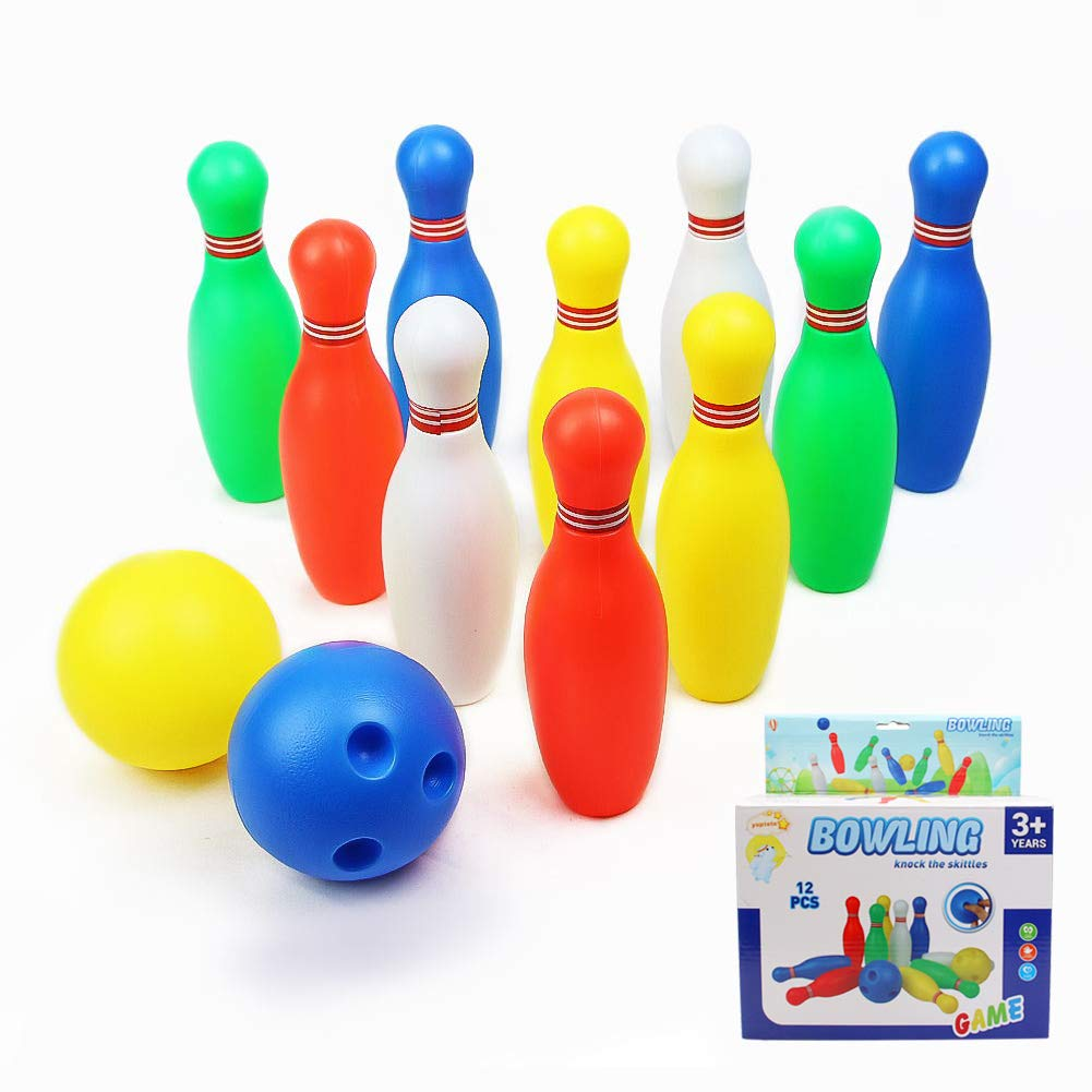 LETIAN TOYS FACTORY yoptote Small Bowling Toy Set Game Colorful Plastic Bowling Ball Pins Party Favors Kit Sport Toddler Educational Toys 12 Pcs Gift for Kids Baby Boys Girls Age 2