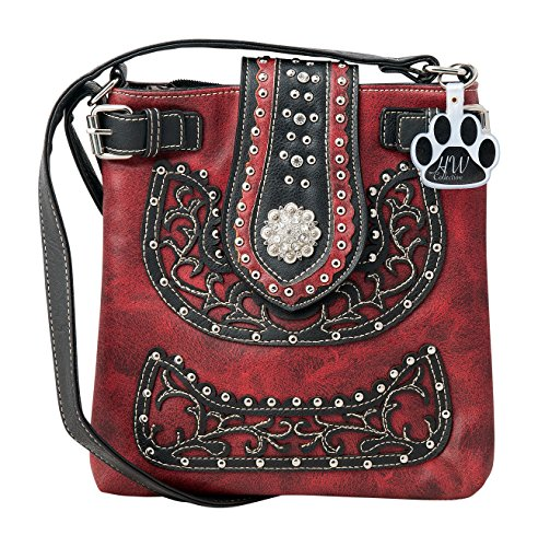 Collection Leather Small Messenger (HW Collection Western Scroll Floral Rhinestone Concho Buckle Concealed Carry Crossbody Handbag Messenger Bag (Red))