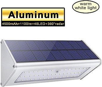 1100lm La luz solar 48 LED 4500mAh de una aleación de aluminio, impermeable al aire libre,