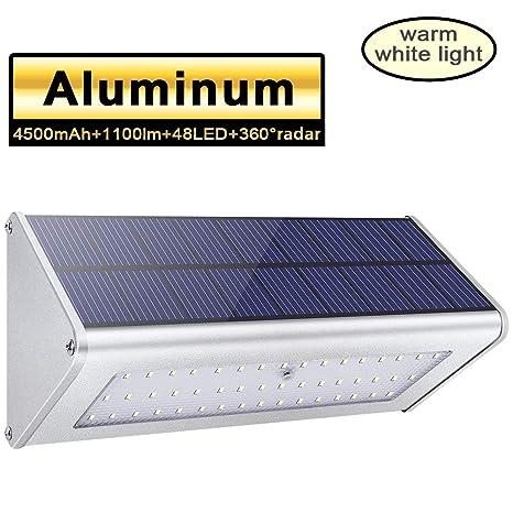 1100lm 4500mAh 48 LED Luces Solares Exterior de Aluminio, Luz Solar IP65 Impermeable, Foco