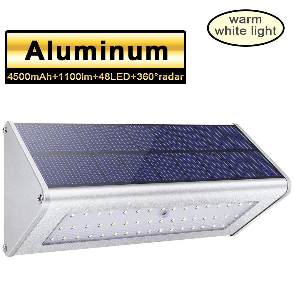 1100lm 48 LED Solar Lights Outdoor 4500mAh Aluminum Alloy Housing 360° Radar Motion Sensor IP65 Waterproof Outdoor Security Solar Lights, for Step, Garden, Yard,Fence,Deck-Warm White