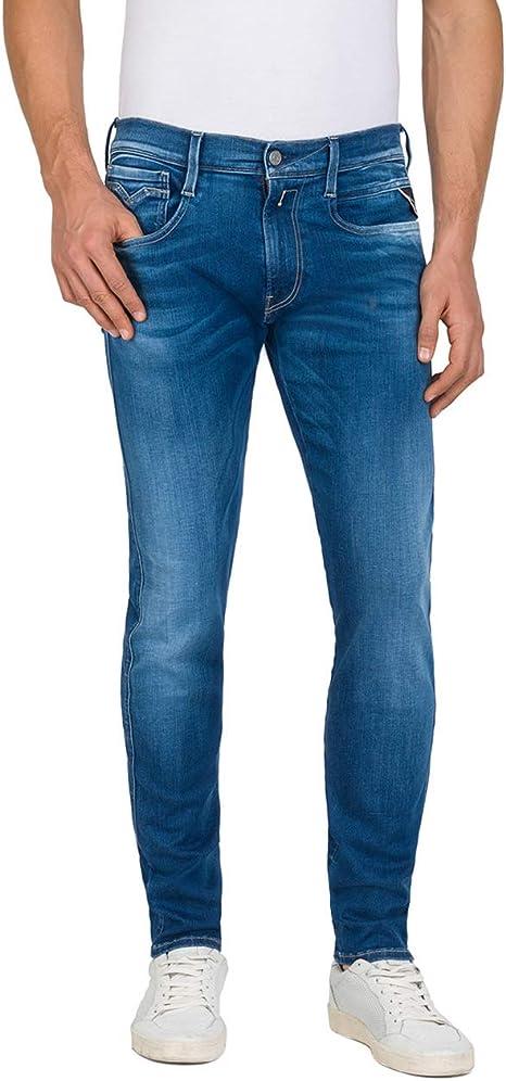 Blu REPLAY Uomo Anbass Hyperflex Slim Fit Jeans