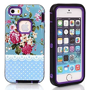 5s Case, Case For Iphone 5/5S Cover Case,Case For Iphone 5/5S Cover Case, New, Magicsky Case For Iphone 5/5S Cover Cover with Rose Flower Polka Dot Pattern Full Body Hybrid Impact Shockproof Defender Case For Iphone 5/5S Cover, 1 Pack(Rose Flower/Purple)