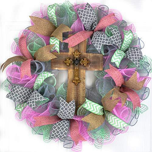 (Year Round Cross Mesh Front Door Wreath | Mother's Day Present | Pink Grey Mint Green Gold)
