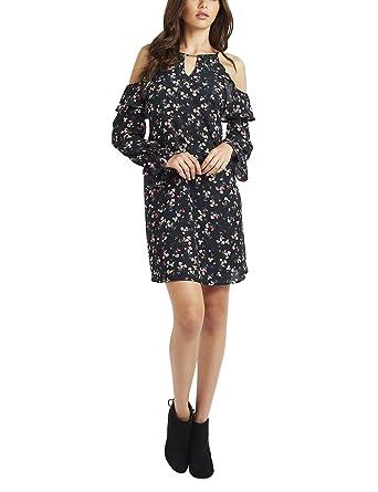 LIPSY Womens Floral Print Cold Shoulder Dress Black 6
