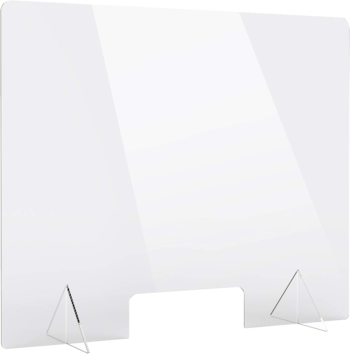 """Protective Sneeze Guard, (36""""W x 30""""H) Clear Acrylic Plexiglass Shield for Counters, Transaction Window for Employers, Workers & Customers : Office Products"""