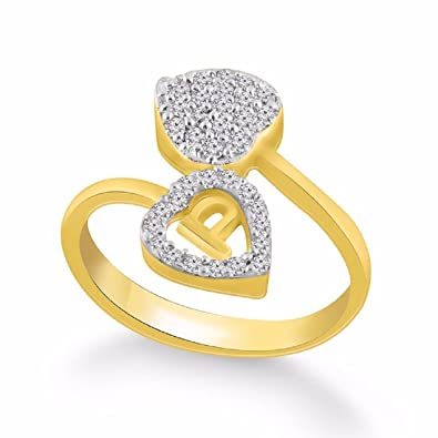 Kanak Jewels Diamond Heart Letter P Designed Ring For Girls Women Gold Plated Free Size