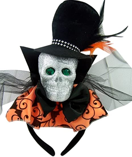 Glitter Skull Bat Headband Halloween Costume Accessory