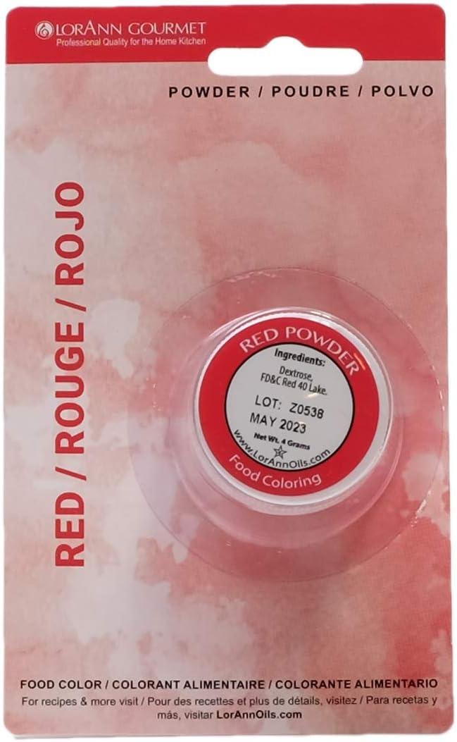 LorAnn Red Powder Food Color 1/2 ounce jar - Blistered