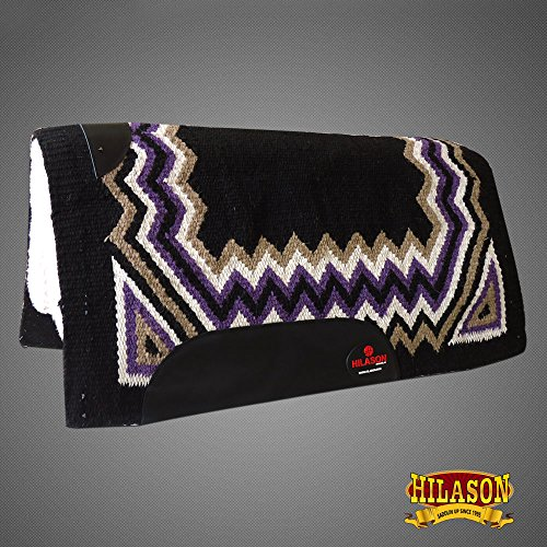 HILASON Made in USA Western Felt Saddle Blanket Pad Black Purple White