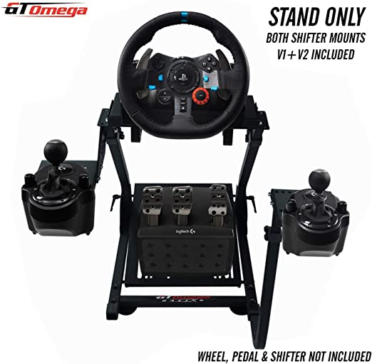GT Omega Volante soporte para Logitech G29 G920 con montura de cambio de velocidades v1 y v2 Thrustmaster T500 T300 TX y TH8A - PS4 Xbox Fanatec Clubsport - Plegable y inclinación