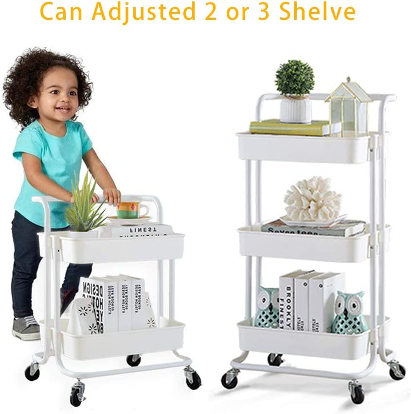Best Buy Box 3-Tier Metal Rolling Cart with Handle, Utility Kitchen Cart, Mobile Storage Rack with Wheels, Adjustable Art Cart for Kids, Easy Assembly Trolley for Bathroom, Bedroom or Office, White