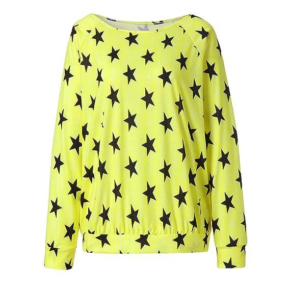 ❤ Las Mujeres Sueltan la Camisa Estrella Impresa, de Las Mujeres de Manga Larga Ocasional de algodón Estrella patrón Sudor Camiseta Blusas Tops Absolute: ...