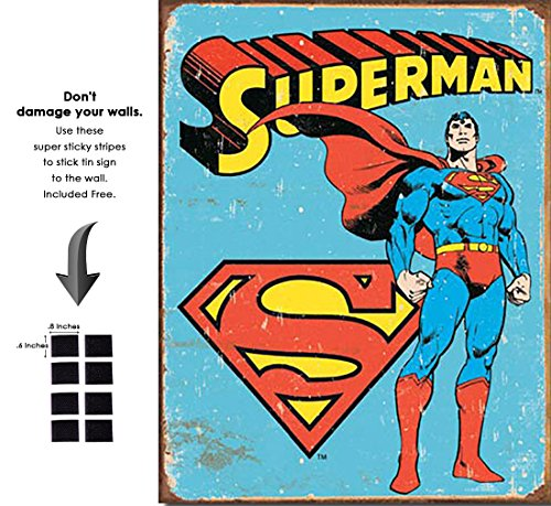 Superman Vintage Tin - Shop72 Tin Sign DC Comic Series Superman Super Hero Metal Tin Sign Retro Vintage - with Sticky Stripes No Damage to Walls