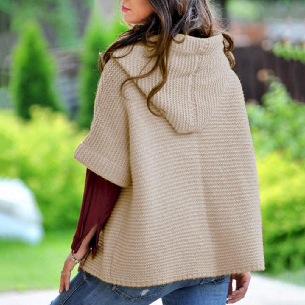 kolila Womens Chunky Button Turtle Cowl NeckHem Wrap Pullover Sweater Hooded Sweater Cardigans Outwear Coats