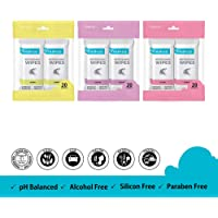 Freshca Refreshing Wet Wipes Single Sachet Men Women Hand Face Floral Orchid Lemon Fragrance Paraben Silicon Alcohol Free 60 pcs
