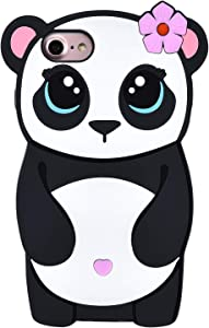 "TopSZ Flower Panda Case for iPhone 8/7/6 6S SE 2020 4.7"",Silicone 3D Cartoon Animal Skin Cover,Kids Girls Animated Cool Fun Cute Kawaii Soft Rubber Funny Unique Character Cases for iPhone6 SE 2020"