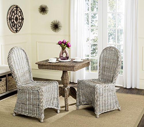 Safavieh Home Collection Idola White Wash Wicker Dining Chair (Set of 2), -
