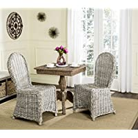 Safavieh Home Collection Idola White Wash Wicker Dining Chair (Set of 2), 19