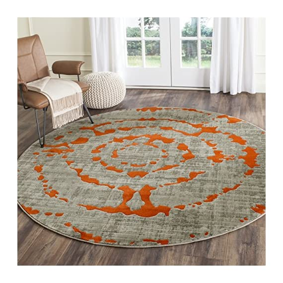 "Safavieh Porcello Collection PRL7735F Light Grey and Orange Round Area Rug (5'1"" Diameter) - The high-quality polypropylene pile fiber adds durability and longevity to these rugs The power loomed construction adds durability to this rug, ensuring it will be a favorite for many years The bright, modern style of this rug will give your room a elegant accent - living-room-soft-furnishings, living-room, area-rugs - 61w3LTZQIxL. SS570  -"
