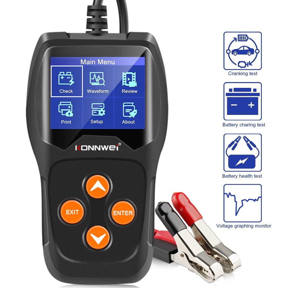 KONNWEI KW600 Batterie Tester Universal 12 V Auto Motorrad Batterie Detektor Digital Multi Funktionen Tester f/ür Auto Motorrad