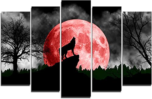 Faicai Art 5 Piece Black and White Animal Paintings Wolf Under The Red Moon Cool Wolf Wall Art Canvas Prints Modern Wall Posters Printings Printed Pictures