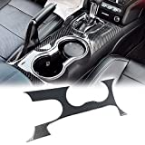 GTINTHEBOX Real Carbon Fiber Water Cup Holder Gear Shift Frame Panel Trim Cover Sticker For Ford Mustang 2015 2016 2017