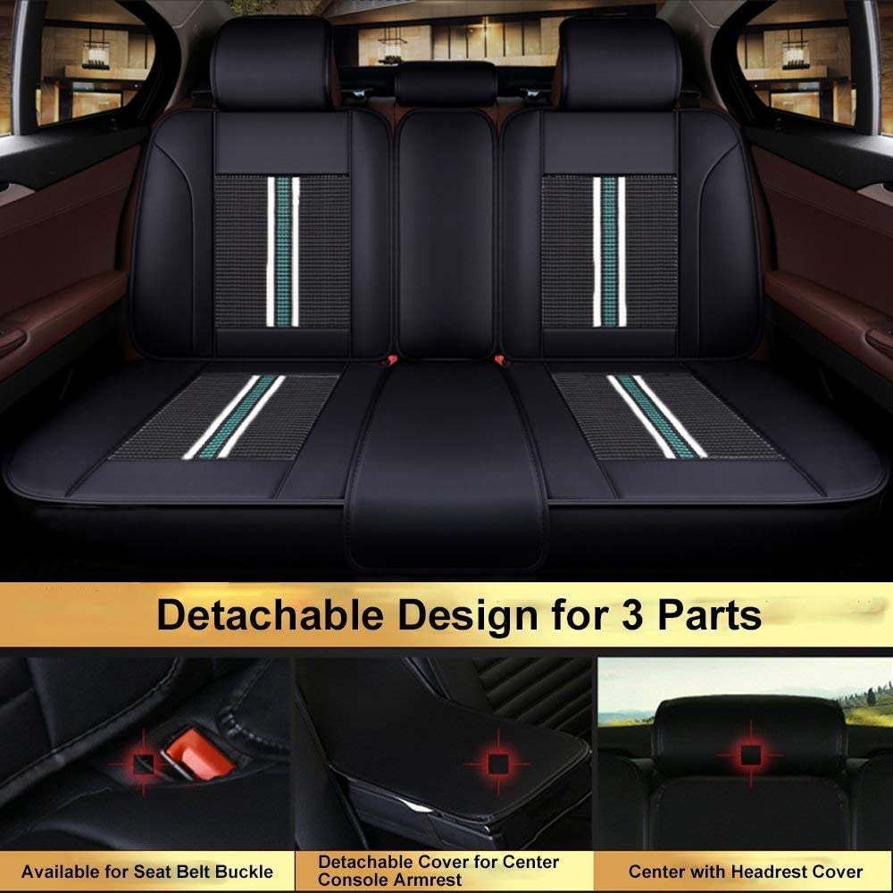 Leatherette Seat Covers Waterproof Breathable 5 Seats Full Set Front Back Cover 12 PCS Big Ant Car Seat Covers Fit Most Car SUV or Van Black and Green