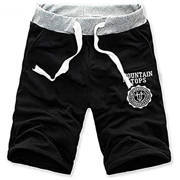 Cr Moda Hombre de algodón Pantalones Cortos Gimnasio Sport Jogging  Pantalones (Negro 978573a05b4f