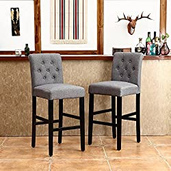 "LSSBOUGHT Set of 2 Button-Tufted Fabric Barstools Dining High Counter Height Side Chairs (Seat Height: 30"", Gray)"