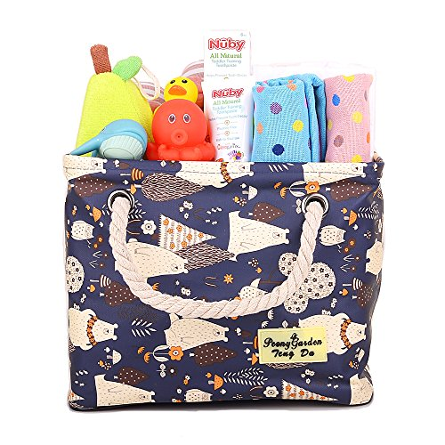 sket, Nursery Bag for Diapers Wipes Clothes Blankets Book, Tote Baskets for Baby Shower, Kids' Toy Arts Crafts Organizer Box, Boy Girl Bath Caddy, Hamper, Shower Caddy Blue Bear ()