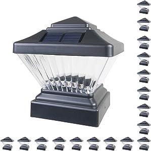 18 Pack Black Outdoor Garden 4 x 4 Solar LED Post Deck Cap Square Fence Light Landscape Lamp Lawn PVC Vinyl Wood