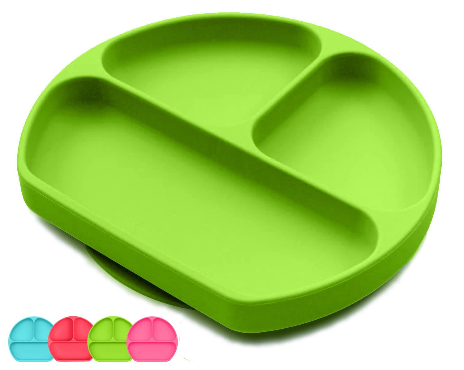 Toddler Suction Plate And Bowl That Stick To highChair, Non Slip Silicone Feeding Placemat For Babies, Infant, Divided Baby Dishes, Perfect Kids Plates, Dishwasher, Microwave Safe (Green)