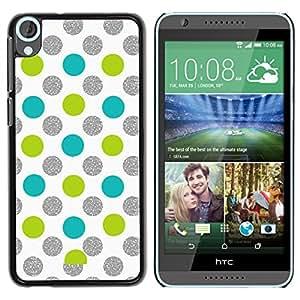 iKiki Tech / Estuche rígido - Dot Green Silver Sparkle White Glitter - HTC Desire 820