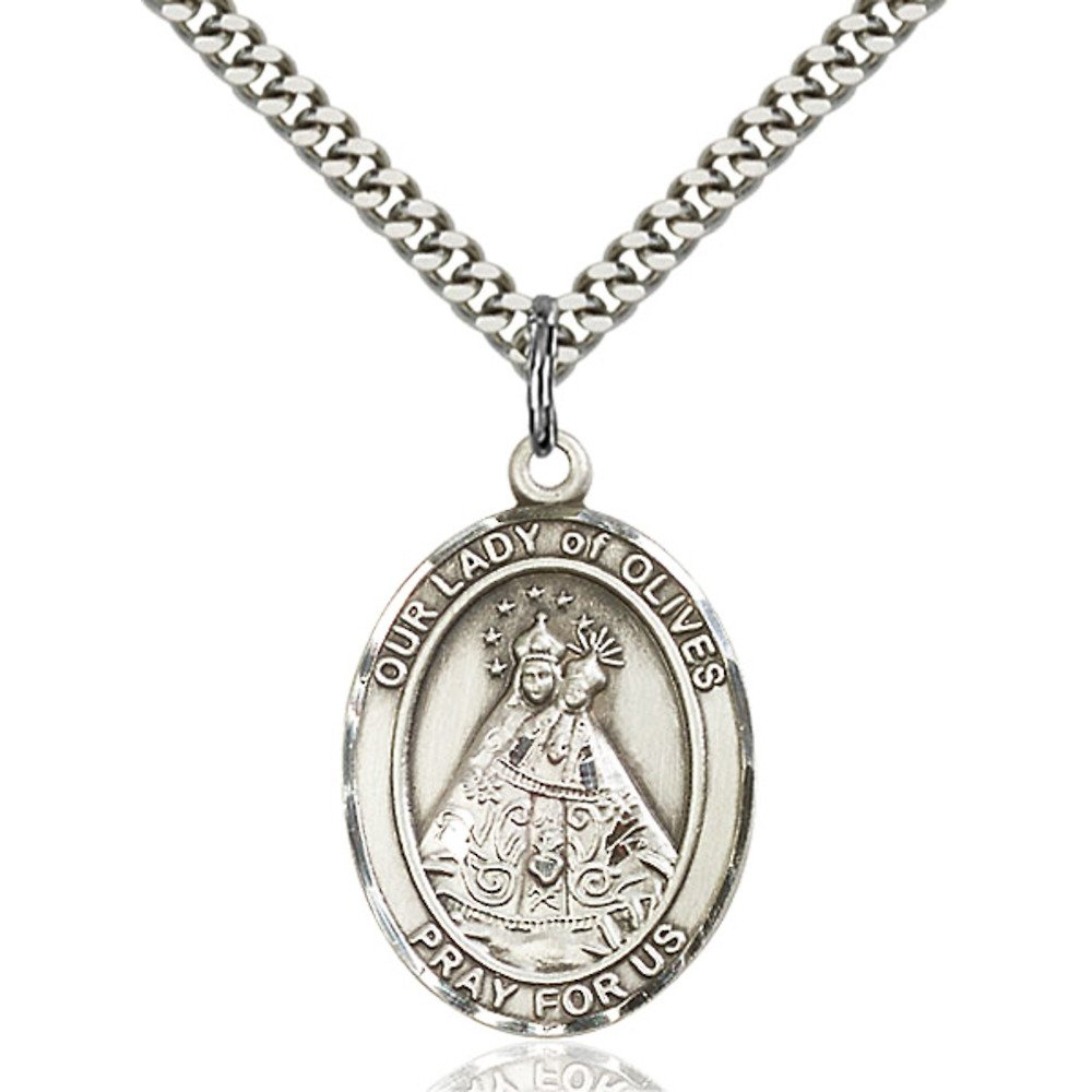Bonyak Jewelry Our Lady of Olives Hand-Crafted Oval Medal Pendant in Sterling Silver