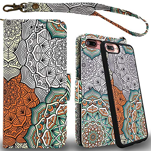 Mefon Detachable Leather Wallet Case, with Tempered Glass and Wrist Strap, Enhanced Magnetic Closure, Durable Slim, Luxury Flip Folio Cases for Apple iPhone 8/7 Plus, 6S / 6 Plus (Mandala 2)