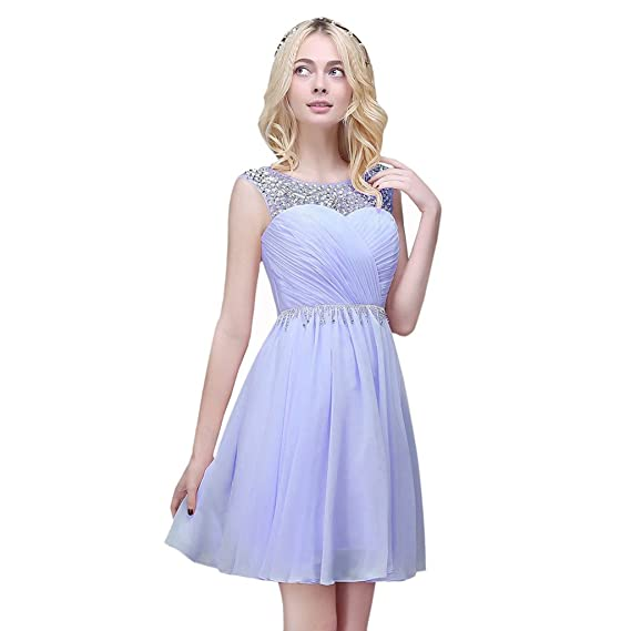 Vimans® Chiffon Light Purple Short Evening Formal Dresses for Women, Size 10