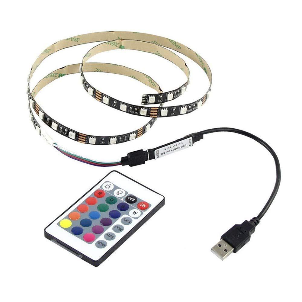 paway Led Strip Lights with Remote Control Colored 5V 5050 60SMD/M RGB LED USB Strip Light Bar TV Back Lighting Kit with 24-Keys IR Remote Control for Home Kitchen Indoor Decoration (50cm)
