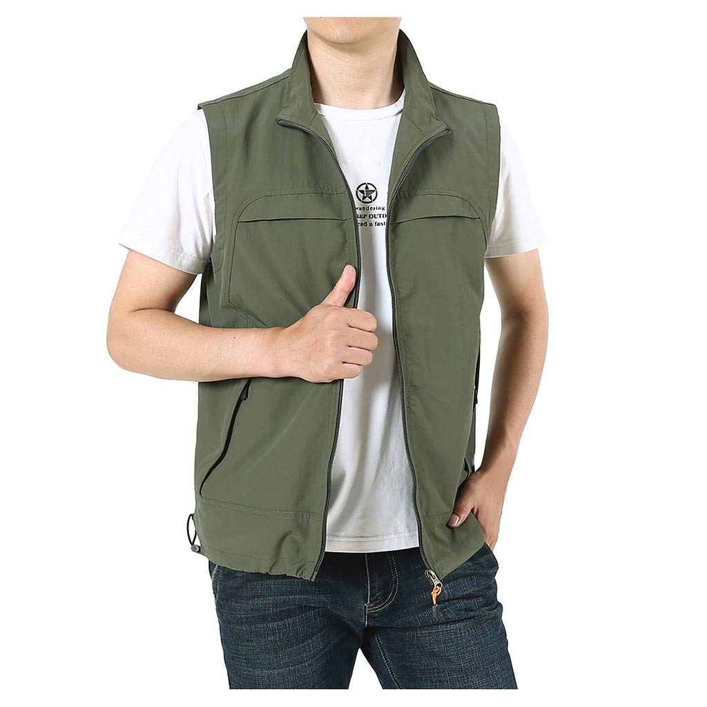 F_Gotal Mens blazer Men's Big & Tall Lightweight Water-Resistant Packable Puffer Vest Army Green by F_Gotal Mens blazer